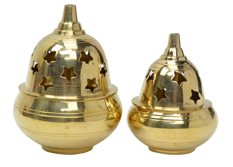 Brass Oil Diya with Lid, Hindu Puja Oil Diya Arti (Large)