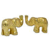Pair of 2 Brass Elephants, Brass Sculpture Souvenir Lucky Figurine