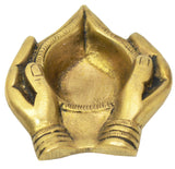 Brass Oil Lamp, Hands Holding Diya, Brass Diya Diwali Gifts Traditional Brass Diya (Small)