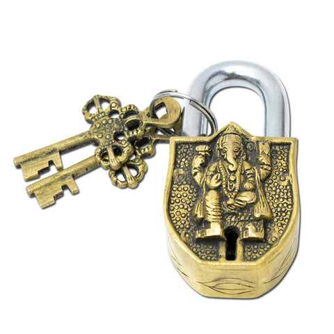 Decorative Small Brass Padlock, Antique Style Ganesha Lock