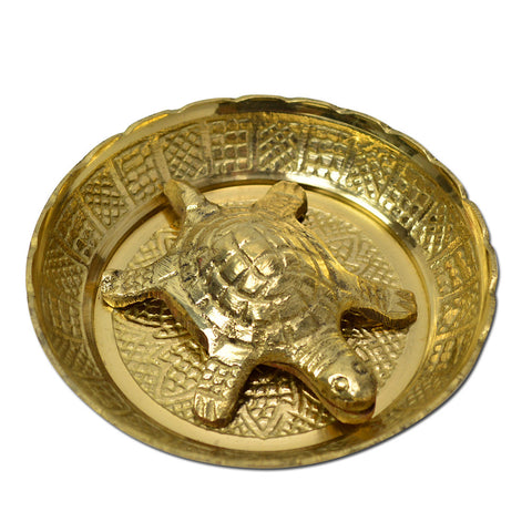Brass Feng Shui, Tortoise With Plate Fine Art India/Asia