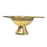 Brass Diya Oil Lamp / Incense Burner, Brass Diya with Handle (Large)