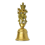 Solid Brass Carved Bell. Exquisite Lord Krishna design, Ghanti Chimes