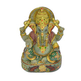 Rajasthan Gems Natural Green Jade semi precious Stone India God Ganesha Idol Gold Painted