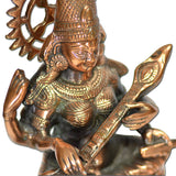 Black Metal Brass And Copper Saraswati