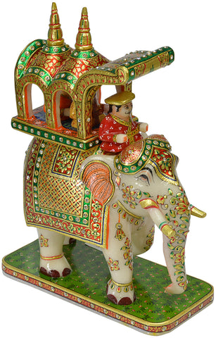 Marble Elephant With Rider-1pcs
