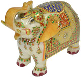 Indian Rajasthani Trunk Up Marble Elephant