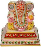 Ganesha With Chowki in White Marble
