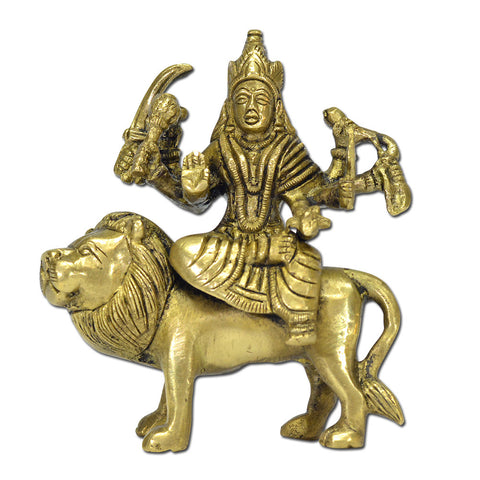 Brass Sherawali Mata Idol Durga Ambe sitting on Lion