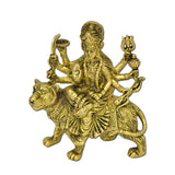 Durga Hindu Goddess Religious Statue Brass Figurines Sitting On Tiger