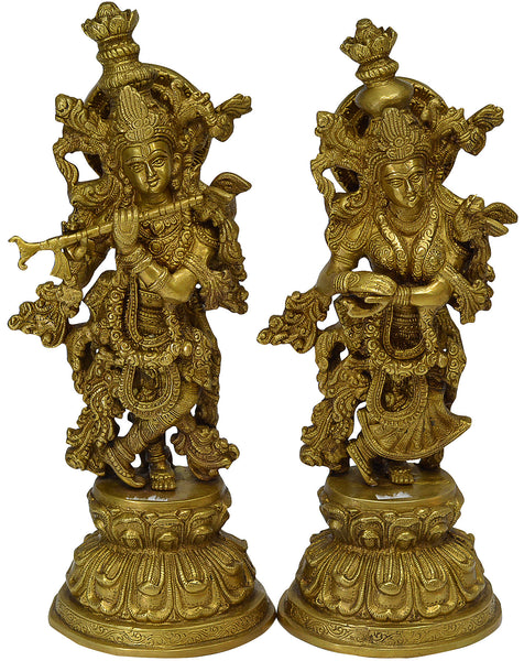 Large Beautiful Radha Krishna Brass Idol