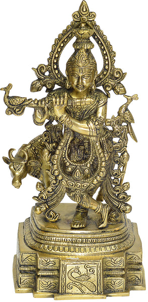 Lord Krishna Standing Playing Bansuri with Cow Brass Idol
