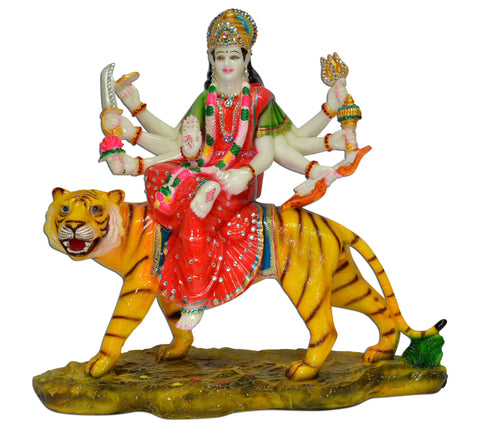 Color Durga Sitting On Tiger