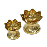 Brass Metal Double Kamal Design Oil Lamp