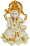 White Ganesh Sitting On Kamal Idol