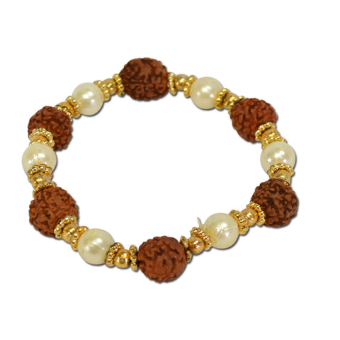 Rudraksha bracelet With White Moti And Golden Cap