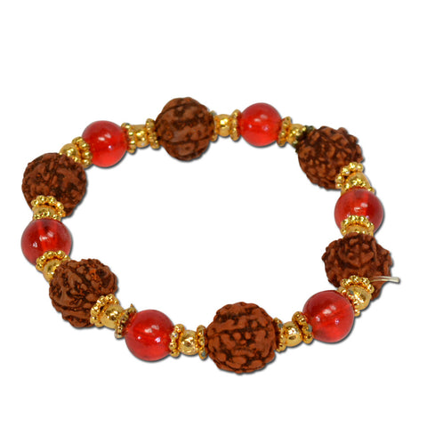 Rudraksha bracelet With Red Moti And Golden Cap