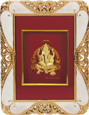 "Gold Leaf Picture in Frames Ganesh ji  9""x7"""