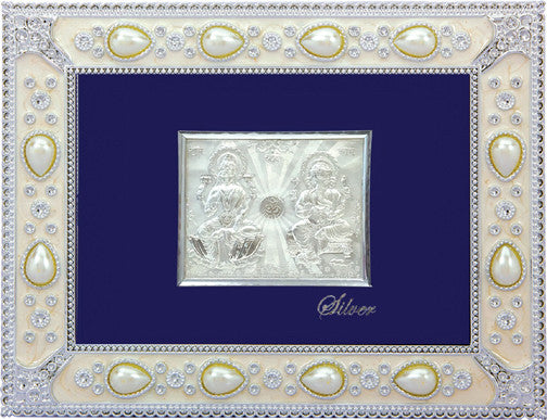 "Silver Picture in Frames Laxmi And  Ganesh12""x10"""