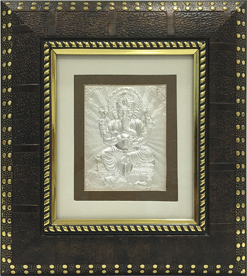 "Silver Picture in Frames Ganesh 8""x8"""