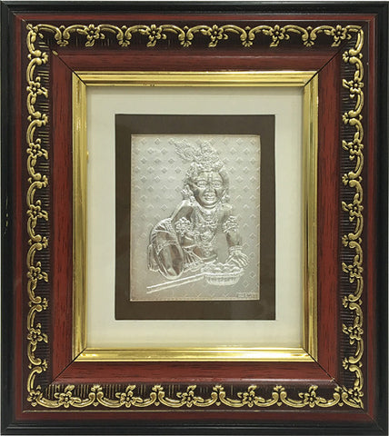 "Silver Picture in Frames Ladoo Gopal 8""x8"""