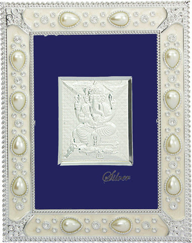 "Silver Picture in important Frames Ganesh ji 12""x10"""