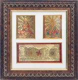 "Gold Leaf  Picture in Frames Laxmi Ganesh with Yantra11""x11"""