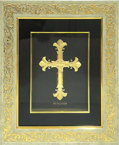 "Gold Leaf Picture in Frames Cross 15""x13"""