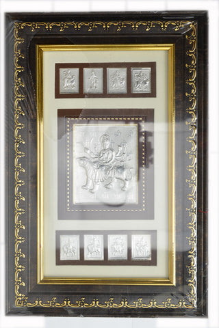 "Silver Picture in Frames  Durga 12""x8"""