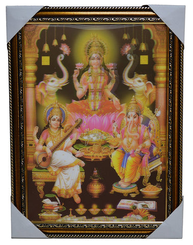 3-D Poster with Frame (Goddess Lakshmi, Saraswati and Lord Ganesha)