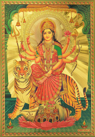 "Gold Poster (Ambe Maa) Poster Size : 8.5"" x 12"""