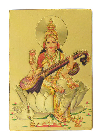 "Fridge Magnet - Hindu God Saraswati, Gold Colored. Size : 2""W X 2.9""H (approx.)"