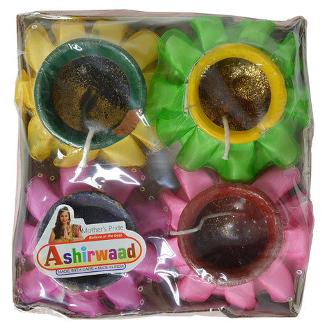 Decorative Diwali Diya 4 Count Assorted Designs Candles