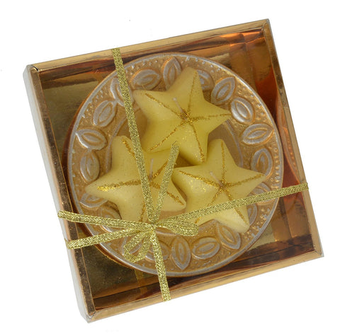 Three Piece Gold Star Diwali Diyas with Decorative Stand Wax Candles