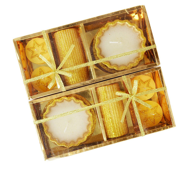 Decorative Diwali Diyas 10 Count Assorted Designs Gold Wax Candles