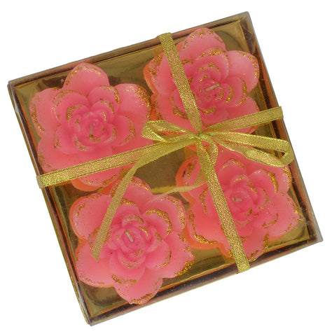 Decorative Diwali Diyas Set of 4 Rose Flower Design Wax Candles