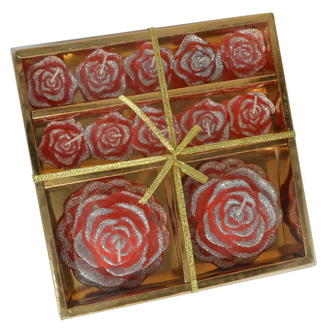 12 Count Diwali Celebration Diyas Rose Color Bedazzled Wax Candles