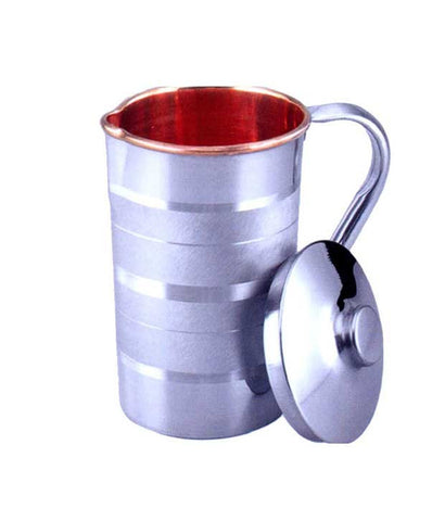 Stainless Steel Copper Jug with Lid for Health Benefits