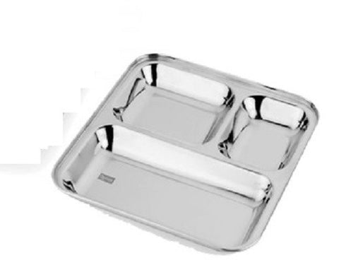 Stainless Steel Rectangular Divided Dinner Tray 3 sections