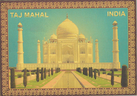 "Fridge Magnet -  Taj Mahal With Blue Sky , Gold Colored. Size : 2.5""W X 3.5""H (approx.)"