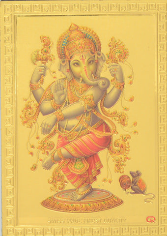 "Fridge Magnet - Dancing Ganesh , Gold Colored. Size : 2.5""W X 3.5""H (approx.)"