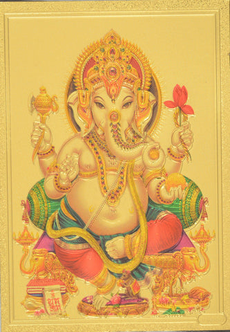 "Fridge Magnet - Lord Ganesh , Gold Colored. Size : 2.5""W X 3.5""H (approx.)"
