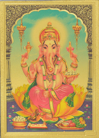 "Fridge Magnet - Lord Ganesh Sitting On Kamal, Gold Colored. Size : 2.5""W X 3.5""H (approx.)"