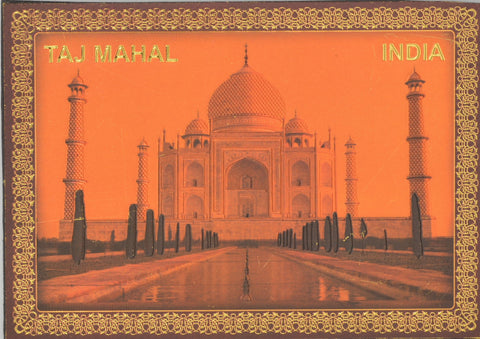 "Fridge Magnet -  Taj Mahal With Orange Sky , Gold Colored. Size : 2.5""W X 3.5""H (approx.)"