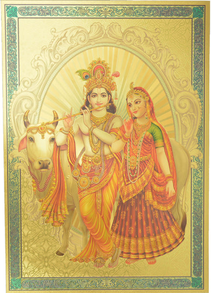 "Gold Poster (Radha Krishna) Poster Size : 8.5"" x 12"" Approx."