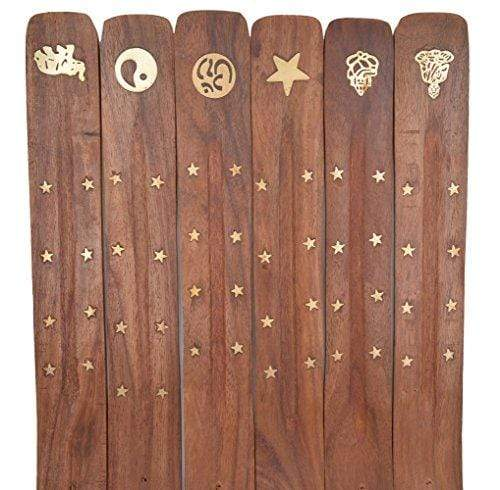 Cavelio Wooden Incense Burner Flat Ash Catcher Assorted Designs with Brass Inlay (6) - wallets for men's at mens wallet