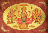 "Goddess Lakshmi / Goddess of Wealth with Lord Ganesha and Devi Saraswati Poster size 12"" X 8.5"" Approx. - wallets for men's at mens wallet"