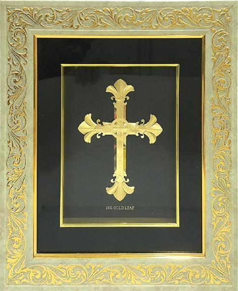 "Gold Leaf Picture in Frames Cross 15""x13"" - wallets for men's at mens wallet"