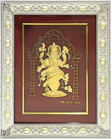 "Gold Leaf Picture in Frames Dancing Ganesh ji 12""x10"" - wallets for men's at mens wallet"