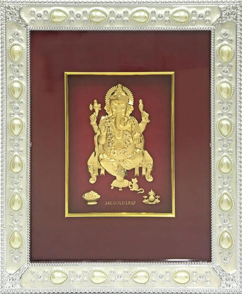 "Gold Leaf Picture in Frames Ganesh 12""x10"" - wallets for men's at mens wallet"